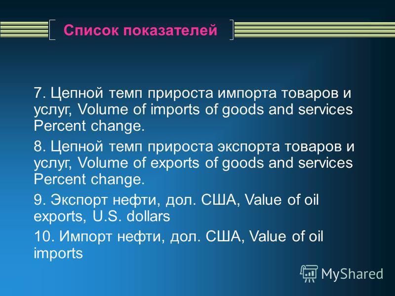 Список показателей 7. Цепной темп прироста импорта товаров и услуг, Volume of imports of goods and services Percent change. 8. Цепной темп прироста экспорта товаров и услуг, Volume of exports of goods and services Percent change. 9. Экспорт нефти, до