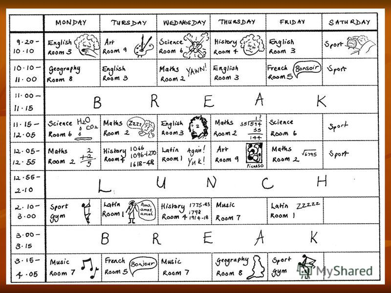 Reading A, B, C, D (A - Read for details; B – T / F; C – Solve puzzles; D – answer ?) Look at Victorias timetable. What day is it?