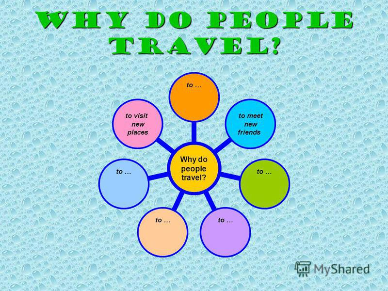 WHY DO PEOPLE TRAVEL? Why do people travel? to … to meet new friends to … to visit new places