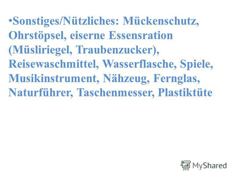 Sonstiges/Nützliches: Mückenschutz, Ohrstöpsel, eiserne Essensration (Müsliriegel, Traubenzucker), Reisewaschmittel, Wasserflasche, Spiele, Musikinstrument, Nähzeug, Fernglas, Naturführer, Taschenmesser, Plastiktüte