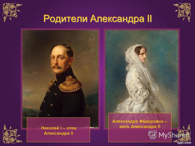 Родители Александра II Николай I – отец Александра II Александра Фёдоровна – мать Александра II