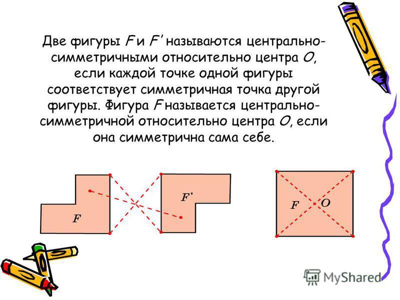 Две фигуры F и F' называются центрально- симметричными относительно центра О, если каждой точке одной фигуры соответствует симметричная точка другой фигуры. Фигура F называется центрально- симметричной относительно центра О, если она симметрична сама