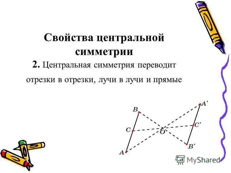 Свойства центральной симметрии 2. Центральная симметрия переводит отрезки в отрезки, лучи в лучи и прямые