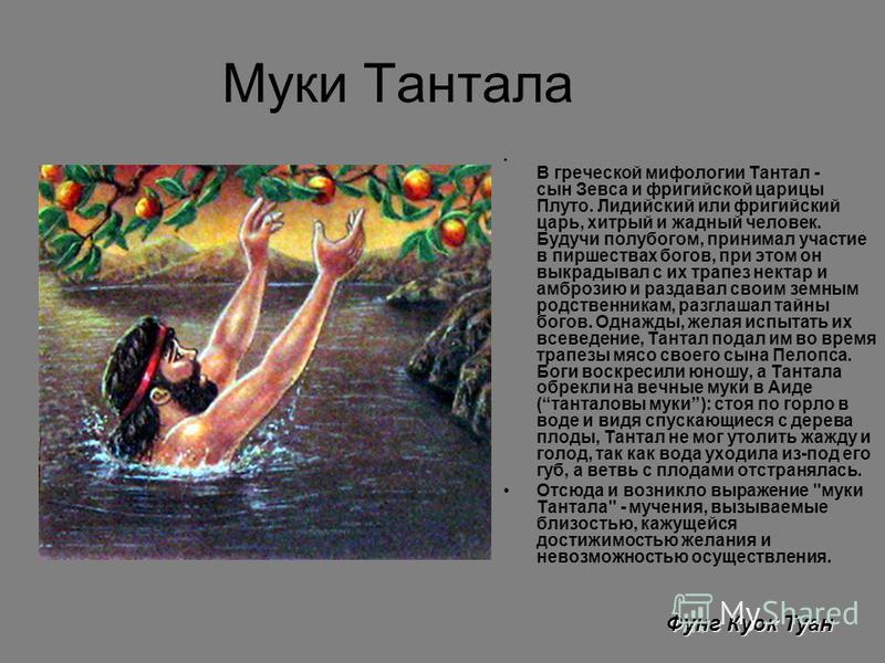 Муки Тантала В греческой мифологии Тантал - сын Зевса и фригийской царицы Плуто. Лидийский или фригийский царь, хитрый и жадный человек. Будучи полубогом, принимал участие в пиршествах богов, при этом он выкрадывал с их трапез нектар и амброзию и раз