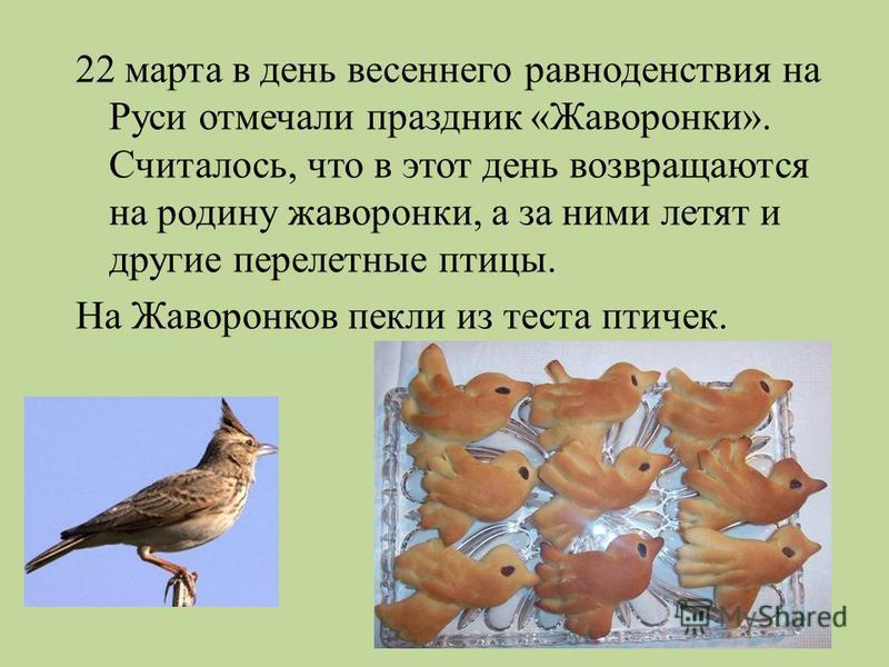22 марта в день весеннего равноденствия на Руси отмечали праздник « Жаворонки ». Считалось, что в этот день возвращаются на родину жаворонки, а за ними летят и другие перелетные птицы. На Жаворонков пекли из теста птичек.