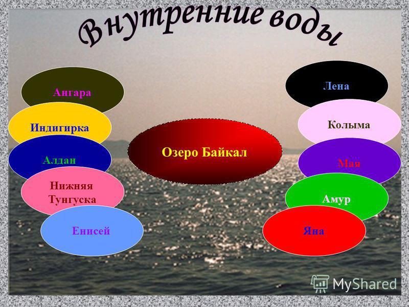 Лена Ангара Индигирка Алдан Колыма Мая Озеро Байкал Амур Яна Нижняя Тунгуска Енисей