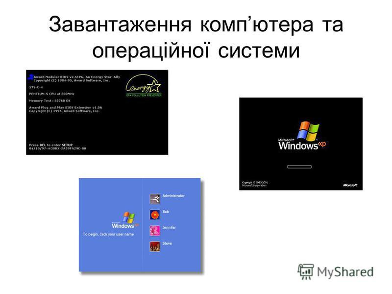 Завантаження компютера та операційної системи