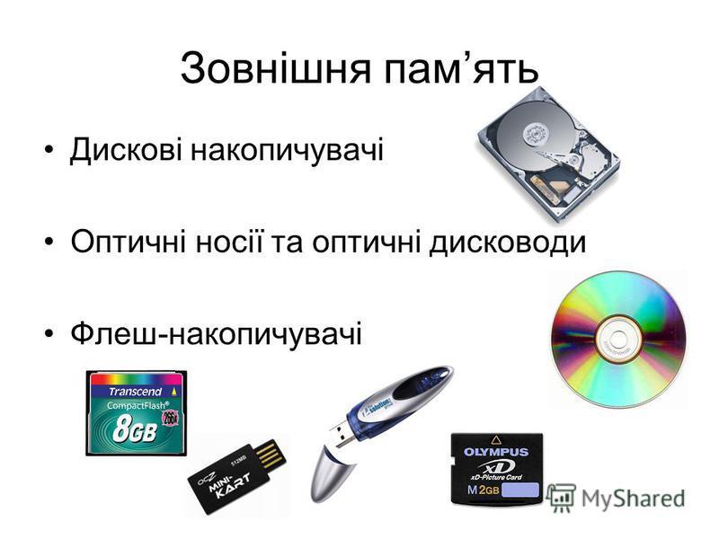 Зовнішня память Дискові накопичувачі Оптичні носії та оптичні дисководи Флеш-накопичувачі
