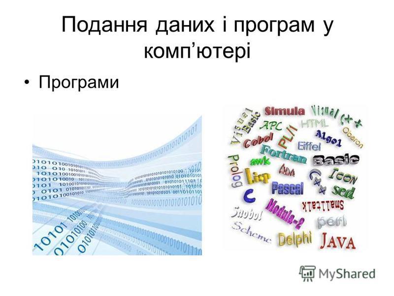 Подання даних і програм у компютері Програми