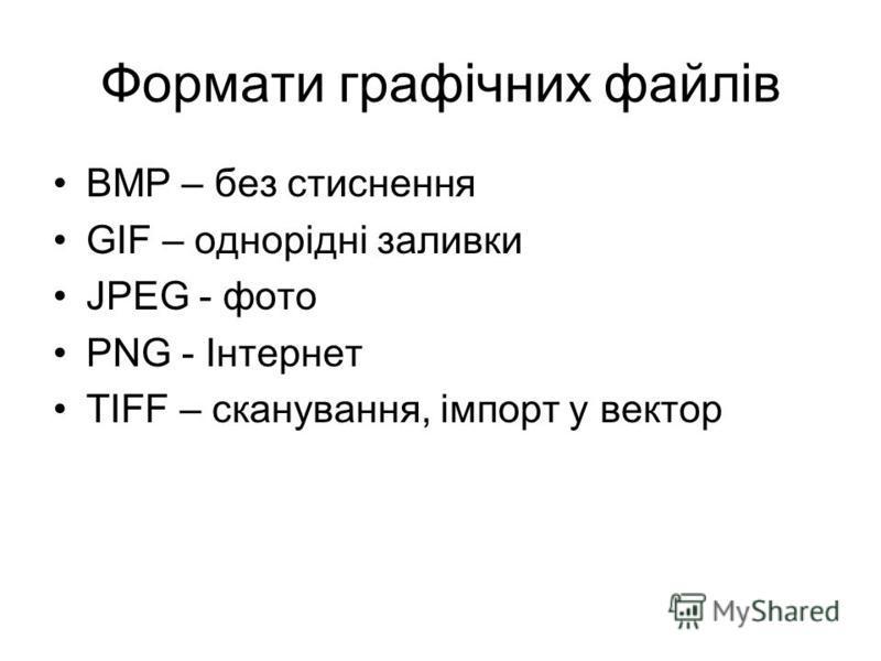 Формати графічних файлів BMP – без стиснення GIF – однорідні заливки JPEG - фото PNG - Інтернет TIFF – сканування, імпорт у вектор