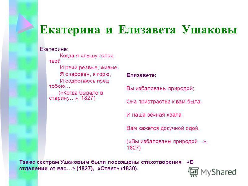 Екатерина и Елизавета Ушаковы Екатерине: Когда я слышу голос твой И речи резвые, живые, Я очарован, я горю, И содрогаюсь пред тобою… («Когда бывало в старину…», 1827) Елизавете: Вы избалованы природой; Она пристрастна к вам была, И наша вечная хвала