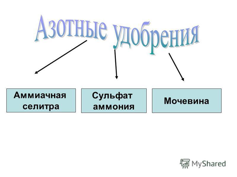 Аммиачная селитра Сульфат аммония Мочевина