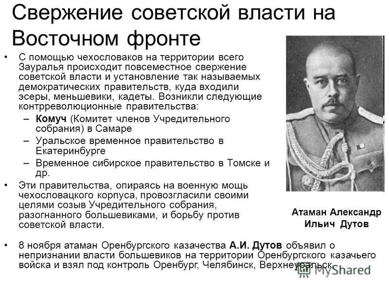 Свержение советской власти на Восточном фронте С помощью чехословаков на территории всего Зауралья происходит повсеместное свержение советской власти и установление так называемых демократических правительств, куда входили эсеры, меньшевики, кадеты.