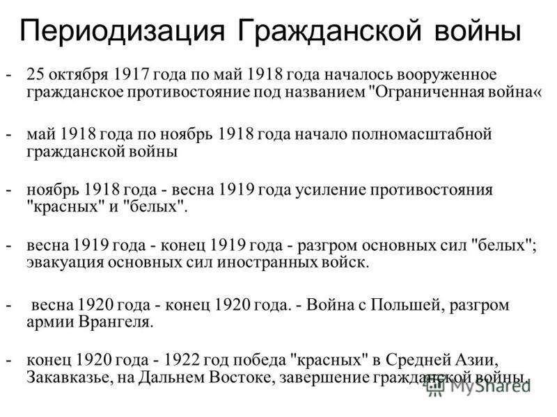 Периодизация Гражданской войны -25 октября 1917 года по май 1918 года началось вооруженное гражданское противостояние под названием