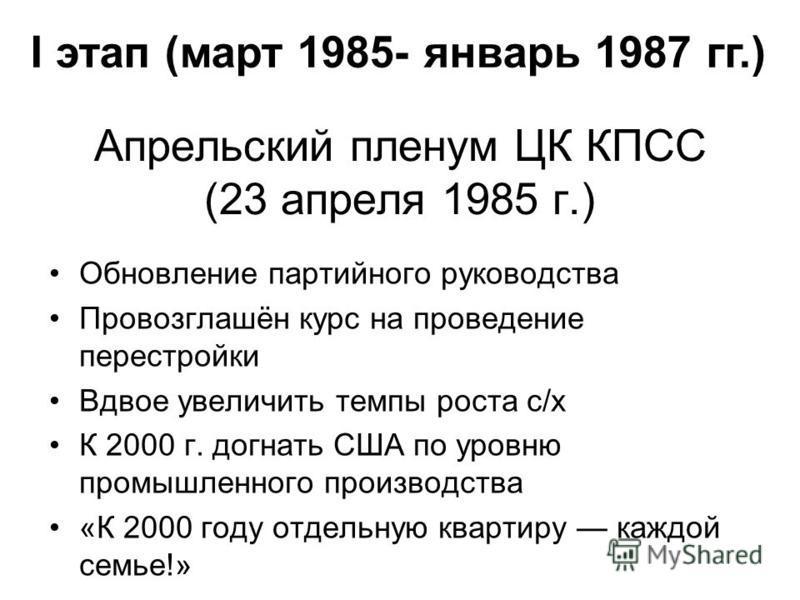 Апрельский пленум ЦК КПСС (23 апреля 1985 г.) Обновление партийного руководства Провозглашён курс на проведение перестройки Вдвое увеличить темпы роста с/х К 2000 г. догнать США по уровню промышленного производства «К 2000 году отдельную квартиру каж