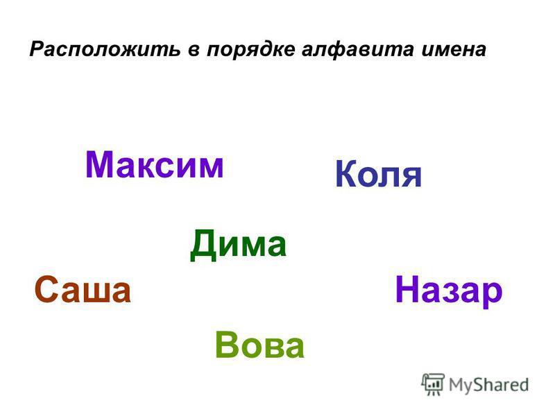 Расположить в порядке алфавита имена Саша Назар Дима Максим Коля Вова