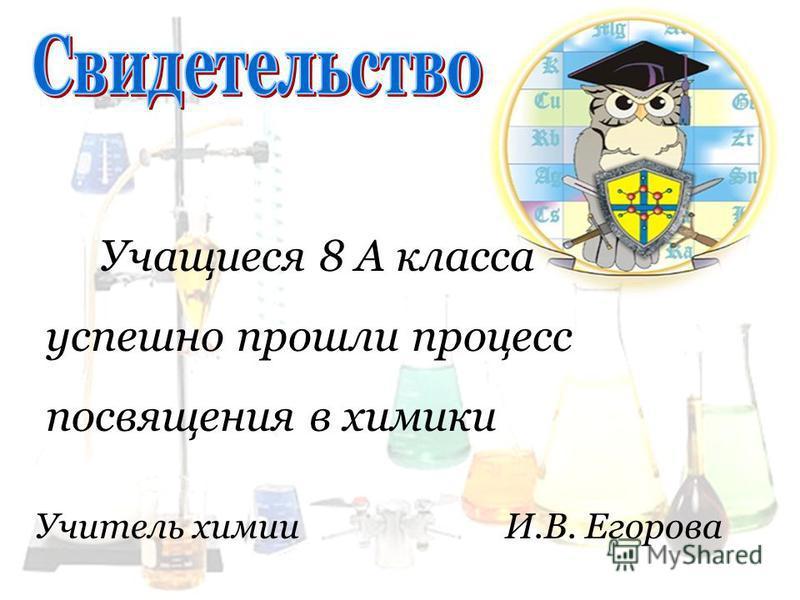 Учащиеся 8 А класса успешно прошли процесс посвящения в химики Учитель химии И.В. Егорова