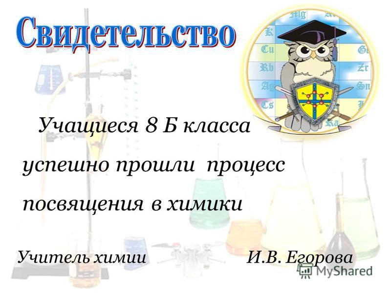 Учащиеся 8 Б класса успешно прошли процесс посвящения в химики Учитель химии И.В. Егорова