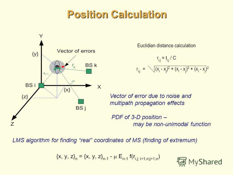 Position Calculation Vector of error due to noise and multipath propagation effects PDF of 3-D position – may be non-unimodal function LMS algorithm for finding real coordinates of MS (finding of extremum)