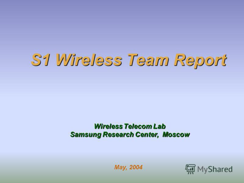 S1 Wireless Team Report Wireless Telecom Lab Samsung Research Center, Moscow May, 2004