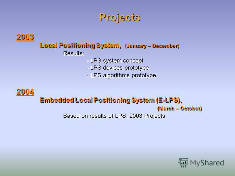 Projects 2003 Local Positioning System, (January – December) Results: - LPS system concept - LPS devices prototype - LPS algorithms prototype 2004 Embedded Local Positioning System (E-LPS), (March – October) Based on results of LPS, 2003 Projects 200