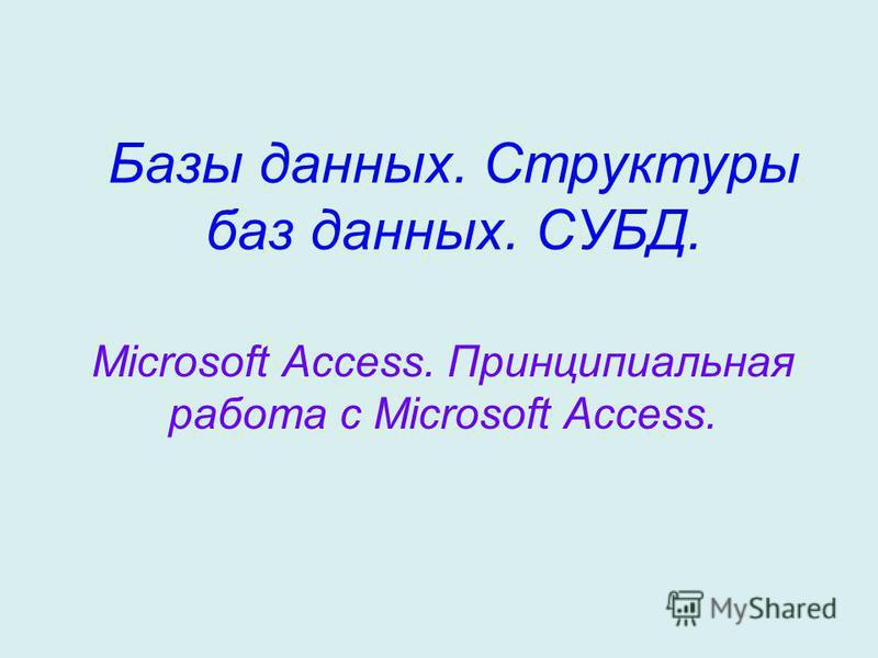 Базы данных. Структуры баз данных. СУБД. Microsoft Access. Принципиальная работа с Microsoft Access.