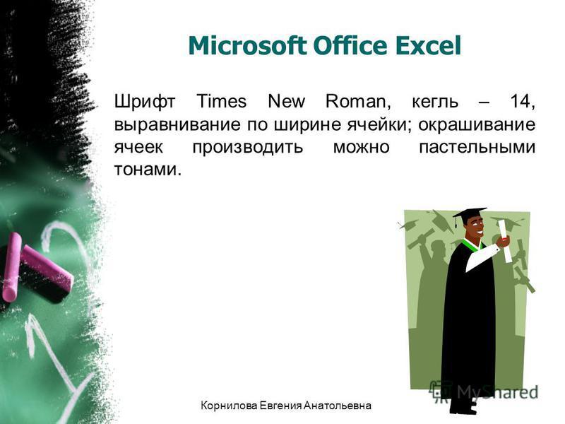 Microsoft Office Excel Шрифт Times New Roman, кегль – 14, выравнивание по ширине ячейки; окрашивание ячеек производить можно пастельными тонами. Корнилова Евгения Анатольевна