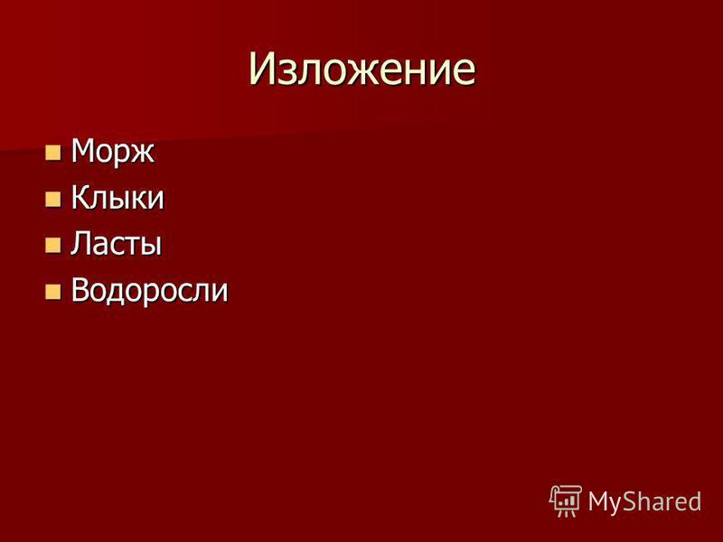 Изложение Морж Морж Клыки Клыки Ласты Ласты Водоросли Водоросли