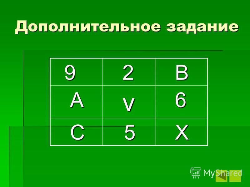 Дополнительное задание 9 2 В А v v v v 6 C 5 X
