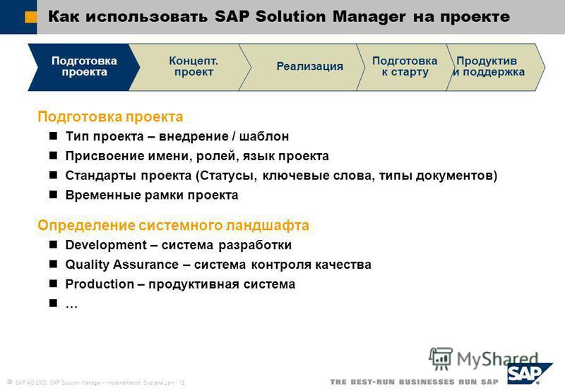 SAP AG 2003, SAP Solution Manager - Implementation, Svetlana Larri / 12 Как использовать SAP Solution Manager на проекте Подготовка проекта Тип проекта – внедрение / шаблон Присвоение имени, ролей, язык проекта Стандарты проекта (Статусы, ключевые сл