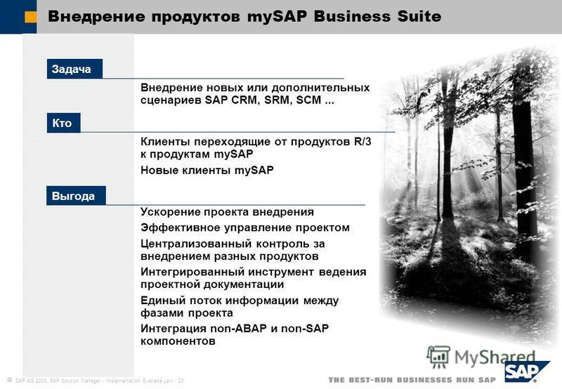 SAP AG 2003, SAP Solution Manager - Implementation, Svetlana Larri / 23 Внедрение продуктов mySAP Business Suite Внедрение новых или дополнительных сценариев SAP CRM, SRM, SCM... Клиенты переходящие от продуктов R/3 к продуктам mySAP Новые клиенты my