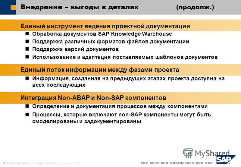 SAP AG 2003, SAP Solution Manager - Implementation, Svetlana Larri / 26 Внедрение – выгоды в деталях (продолж.) Единый инструмент ведения проектной документации Обработка документов SAP Knowledge Warehouse Поддержка различных форматов файлов документ