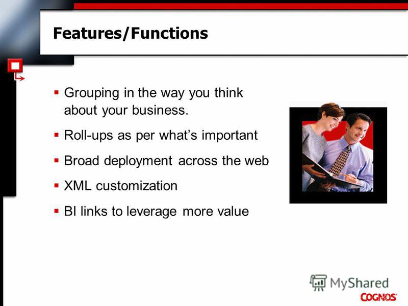 Features/Functions Grouping in the way you think about your business. Roll-ups as per whats important Broad deployment across the web XML customization BI links to leverage more value