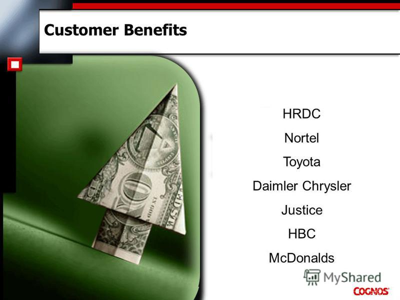 Customer Benefits HRDC Nortel Toyota Daimler Chrysler Justice HBC McDonalds