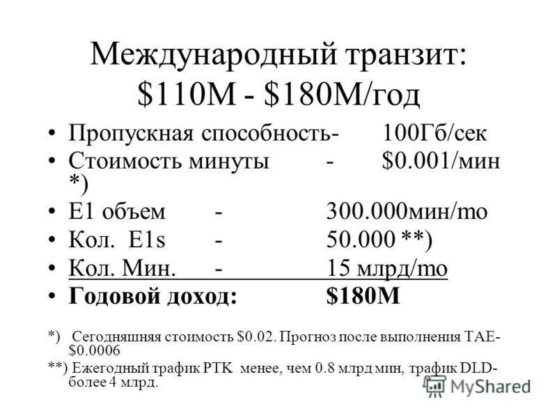 Международный транзит: $110M - $180M/год Пропускная способность-100Гб/сек Стоимость минуты -$0.001/мин *) E1 объем -300.000 мин/mo Кол. E1s-50.000 **) Кол. Мин.-15 млрд/mo Годовой доход:$180M *) Сегодняшняя стоимость $0.02. Прогноз после выполнения T