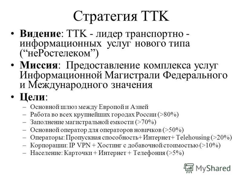 Стратегия TTK Видение: TTK - лидер транспортно - информационных услуг нового типа (не Ростелеком) Миссия: Предоставление комплекса услуг Информационной Магистрали Федерального и Международного значения Цели: –Основной шлюз между Европой и Азией –Рабо
