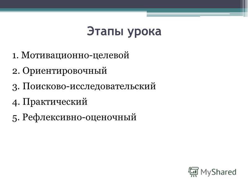 Этапы урока 1. Мотивационно-целевой 2. Ориентировочный 3. Поисково-исследовательский 4. Практический 5. Рефлексивно-оценочный