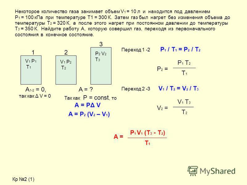 Некоторое количество газа занимает объем V 1 = 10 л и находится под давлением Р 1 = 100 к Па при температуре Т1 = 300 К. Затем газ был нагрет без изменения объема до температуры Т 2 = 320 К, а после этого нагрет при постоянном давлении до температуры