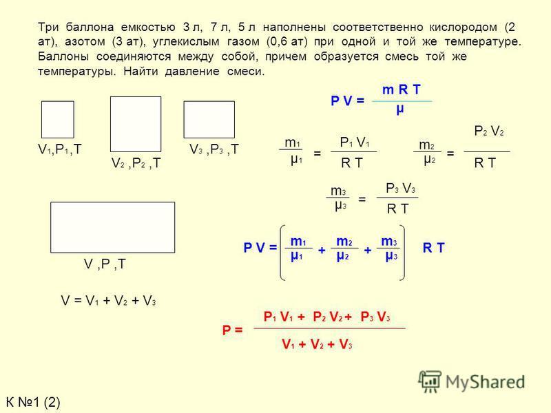 Три баллона емкостью 3 л, 7 л, 5 л наполнены соответственно кислоородом (2 ат), азотом (3 ат), углекислоым газом (0,6 ат) при одной и той же температуре. Баллоны соединяются между собой, причем образуется смесь той же температуры. Найти давление смес