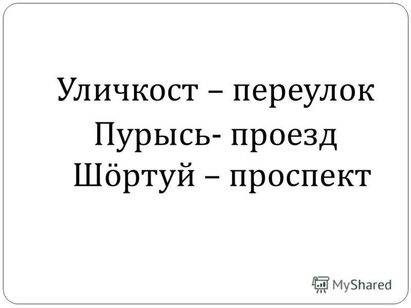 Уличкост – переулок Пурысь - проезд Ш ö ртуй – проспект