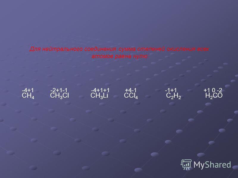 СН 4 СН 3 Сl СН 3 Li CCl 4 С 2 Н 2 Н 2 СО -4+1 -2+1-1 -4+1+1 +4-1 -1+1 +1 0 -2 Для нейтрального соединения сумма степеней окисления всех атомов равна нулю: