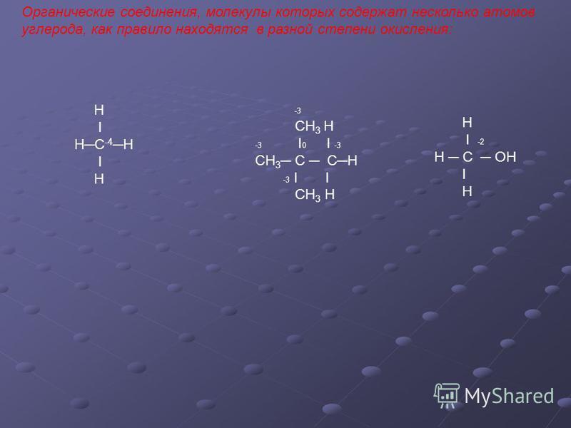 Органические соединения, молекулы которых содержат несколько атомов углерода, как правило находятся в разной степени окисления: Н Ι НС -4 Н Ι Н -3 СН 3 Н -3 Ι 0 Ι -3 СН 3 С СН -3 Ι Ι СН 3 Н Н Ι -2 Н С ОН Ι Н