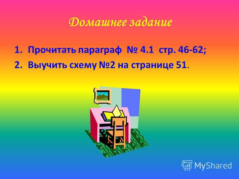 Домашнее задание 1. Прочитать параграф 4.1 стр. 46-62; 2. Выучить схему 2 на странице 51.