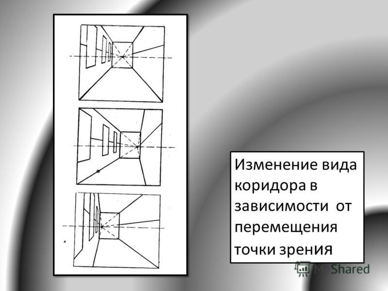 Изменение вида коридора в зависимости от перемещения точки зрения