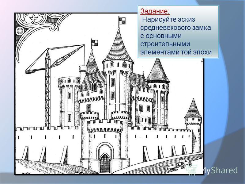 Задание: Нарисуйте эскиз средневекового замка с основными строительными элементами той эпохи