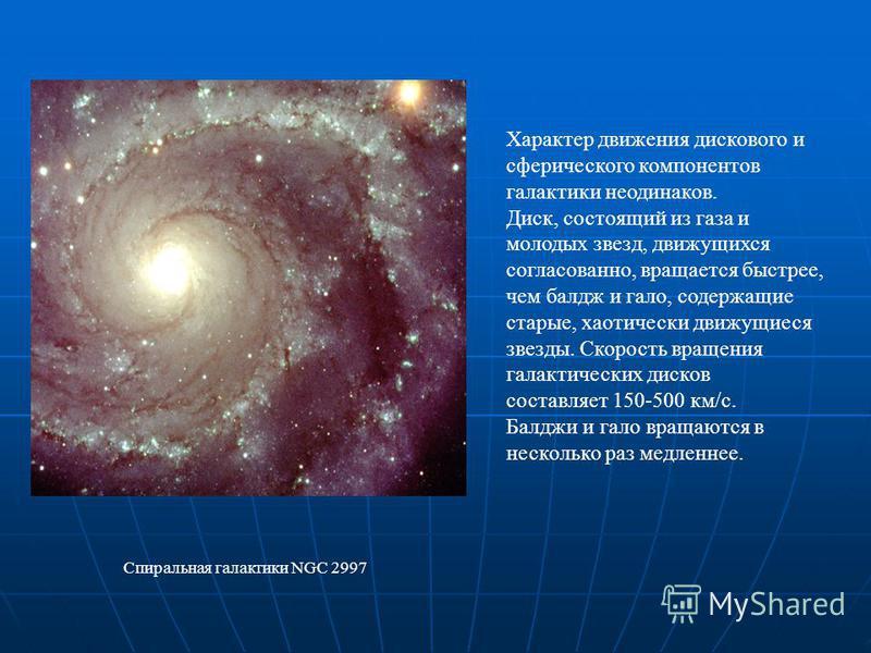 Характер движения дискового и сферического компонентов галактики неодинаков. Диск, состоящий из газа и молодых звезд, движущихся согласованно, вращается быстрее, чем бал жигало, содержащие старые, хаотически движущиеся звезды. Скорость вращения галак