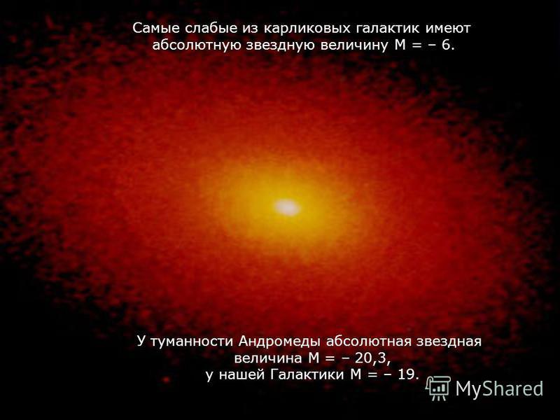 Cамые слабые из карликовых галактик имеют абсолютную звездную величину М = – 6. У туманности Андромеды абсолютная звездная величина М = – 20,3, у нашей Галактики М = – 19.
