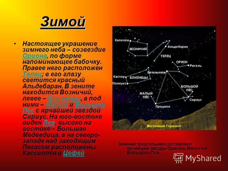 Зимой Настоящее украшение зимнего неба – созвездие Ориона, по форме напоминающее бабочку. Правее него расположен Телец; в его глазу светится красный Альдебаран. В зените находится Возничий, левее – Близнецы, а под ними – Малый и Большой Пес с ярчайше