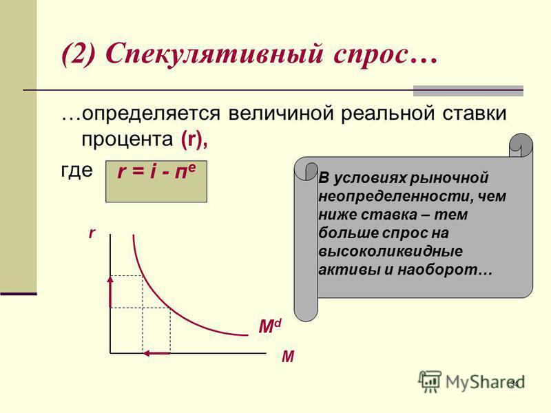 34 (2) Спекулятивный спрос… …определяется величиной реальной ставки процента (r), где М r MdMd В условиях рыночной неопределенности, чем ниже ставка – тем больше спрос на высоколиквидные активы и наоборот… r = i - п е
