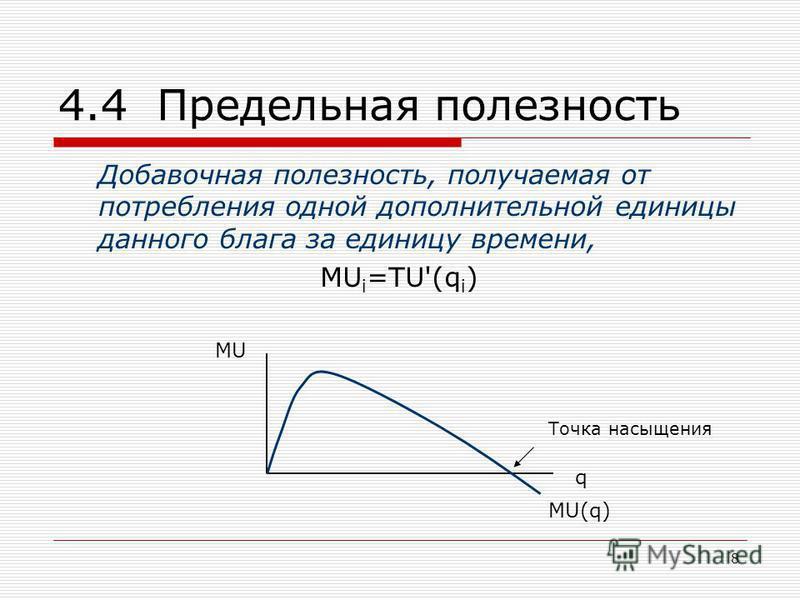 8 4.4 Предельная полезность Добавочная полезность, получаемая от потребления одной дополнительной единицы данного блага за единицу времени, MU i =TU'(q i ) MU q MU(q) Точка насыщения